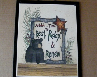 Rustic Primitive   Country BEAR Sign Rest Relax Renew  Lodge Cabin Northwoods Lake Camping Wood Wall Decor
