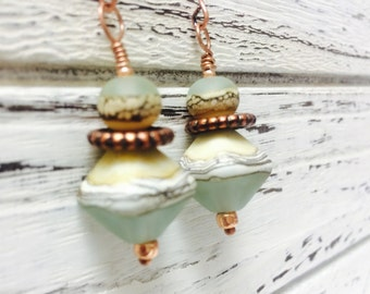 Seaglass & Shell Copper Lampwork Dangle Earrings - FREE Shipping