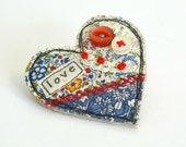 Heart shaped brooch Blue heart Heart pin Heart badge love heart Valentines gift Fabric heart brooch Textile heart pin applique love