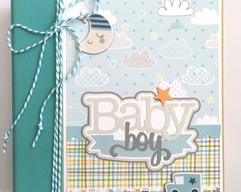 Baby Boy Scrapbook Mini Album Kit or Premade Newborn Shower Gift