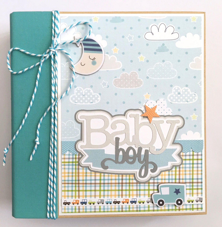 baby boy scrapbook mini album kit or premade newborn shower. Black Bedroom Furniture Sets. Home Design Ideas