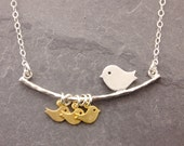 Single Mother Necklace, 1-6 kids, mothers day gift, single mom, mother necklace, new mom, bird family necklace, gifts for mom, N1