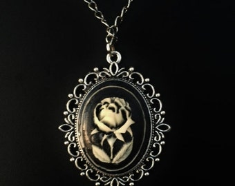 Cameo Necklace, Gothic Rose Cameo,Set in a Victorian Frame,Fancy Silver Fiagree,SHIPS from California,FREE Gift Wrapping, Halloween Costume