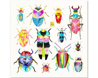 Watercolor Beetles Archival Art Print. Beetle Poster. Colorful Beetle Wall Art. Unique Insect Painting. Kids Room Bug Art. Colorful Beetles.