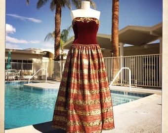 ROYAL Vintage Embroidered Crystal Red Velvet Strapless Bodice with Gold Jacquard Full Skirt BALL GOWN Dress