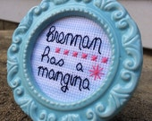 Mini Blue Baroque Framed Cross Stitch - Step Brothers - Brennan Has A Mangina