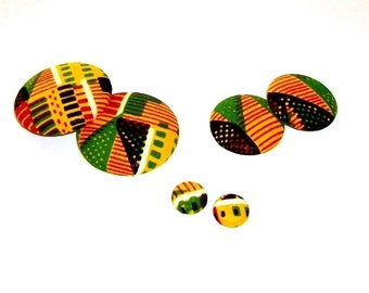 Button Fab - Traditional African Kente Print Fabric Buttons and Studs