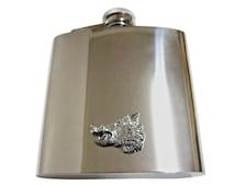 Side Facing Wild Boar Head 6 oz. Stainless Steel Flask