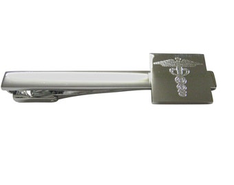 Engraved Caduceus Medical Symbol Square Tie Clip