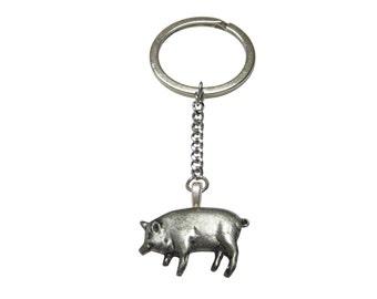 Detailed Pig Pendant Keychain