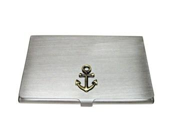 Brass Toned Anchor Pendant Business Card Holder