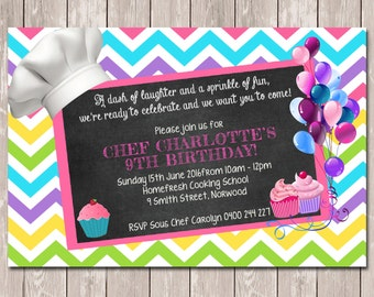 Chef Cooking Masterchef Personalised Birthday Invitations - YOU PRINT