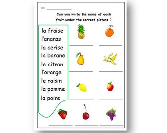FRENCH Fruits WORSHEET With Writing Exercise,Practice French Words,Classroom Activity,Teachers Resource, Lesson Plans