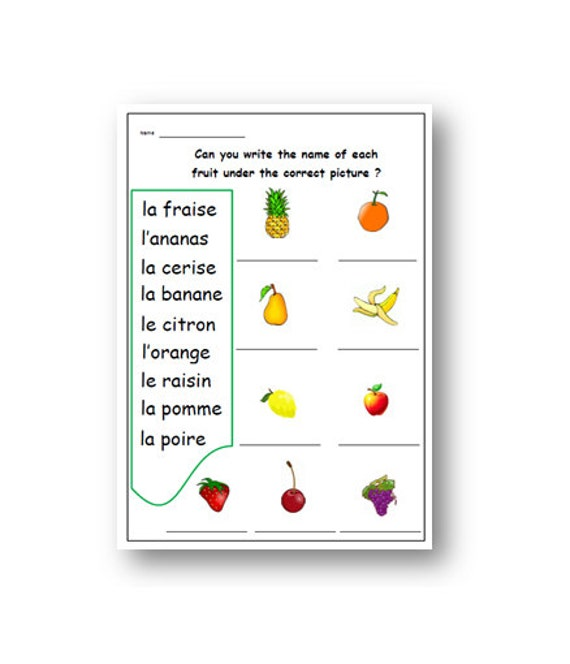 kids worksheet french learning the names of fruits french. Black Bedroom Furniture Sets. Home Design Ideas