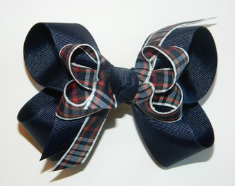 Navy, Green, Red & White Plaid Double Uniform Bow - School Uniform Hair Bow, School Uniform Headband, Navy Uniform Plaid Hair Accessories