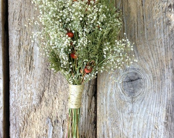 Classic Winter Bouquet - Dried Wedding or Holiday Decor Bouquet - Candycane Lane - Baby's Breath, Rose Hips with Pinecone or Evergreen