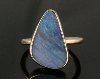 Solid 14k Gold Opal Ring - Stacking Ring - Statement Ring - Bezel Set Opal Ring