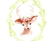 deer art print watercolor deer print illustration