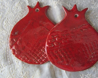 RESERVED One Bright Red Ceramic Pomegranate  Israel Biblical Wall Hanging Tiles