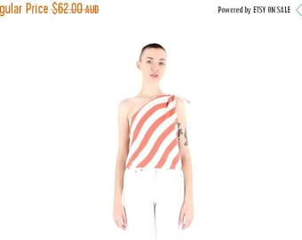 10,000 LIKES 7 Day Sale 80s Striped Minimal Avant Garde Simple One Shoulder Tie Up Cotton Top