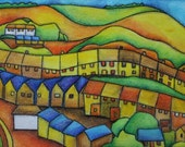 Cartrefi Homes art print A3 from Original Drawing by Gayle Rogers Made in Wales