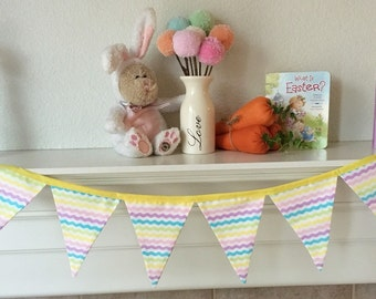 SALE: Spring Banner // Easter Fabric Bunting Banner //  Easter Fabric Pennant Banner. Easter Banner Ready to Ship! (Half Size-6 flags)