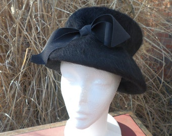 Wool Hat, Black, Brushed Mohair, Mid Century, Timeless, Ribbon, Marked Melosdie