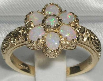 9K Yellow Gold Natural Colorful Opal Engagement Ring, English Vintage Style Carved Ring, Art Nouveau Cluster Flower Ring -Customizable
