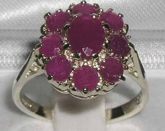 14K White Gold Natural Ruby Engagement Ring, English Antique Style Floral Ring, Cluster Flower Ring - Made in England -Customizable