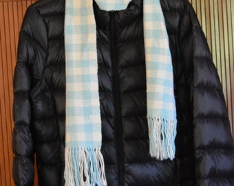 Blue and White Checked Handwoven Scarf