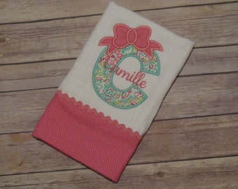 Girl burp cloth with initial and bow; personaled girl burp cloth
