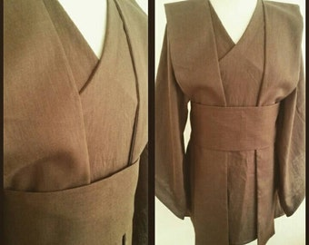 MADE TO ORDER:  Brown linen Star Wars inspired Jedi robe, tunic, wrapdress costume cosplay larp pagan  pixie