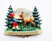 German Vintage Bavarian Hat Pin Brooch Jewelry with Gnome and Deer, Lovely Fairy Tale item