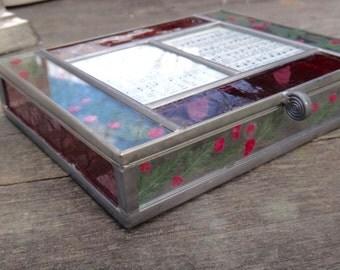 Jewelry Box, Glass Photo Box, Keepsake Box, Dresser Decor, Glass Box, Pressed Flowers Box, Summer Decor, Burnes of Boston, Leaded Glass Box