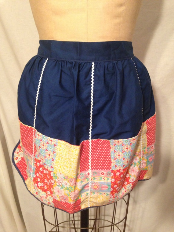 Blue Reversible Flower and Polka Dot Apron Sale sm6
