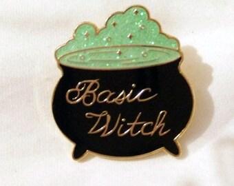 Basic witch enamel glitter pin