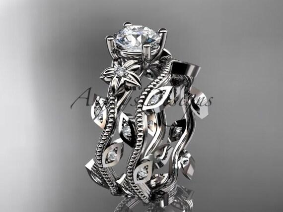 platinum diamond leaf and vine wedding ring,engagement ring,engagement set ADLR151S