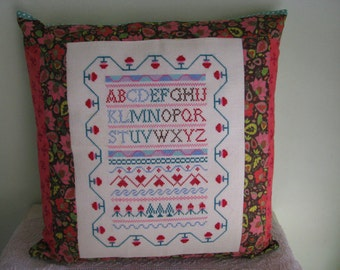 Sampler Decor Cushion Cover Pillow Cover Alphabet Cross Stitch Embroidery Nursery Decor ABC Pillow Cover 18x18inches Girl