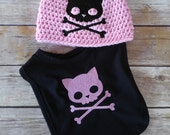 Baby Gift Set - Hat and Bib - Skull Baby Clothes - Punk Baby Clothes - Goth Baby Clothes - Baby Girl Punk Clothes - Rockabilly Baby
