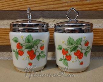 Vintage Pair of 2 Strawberry Designed Egg Coddlers Unmarked Maker