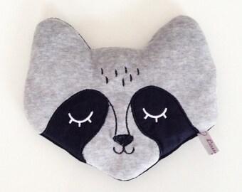 Raccoon soft toy, handmade, grey, black velvet, embroidery