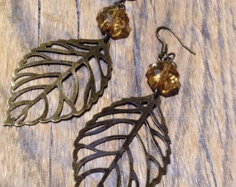 Gold drop earrings, Leaf earrings, Nature earrings