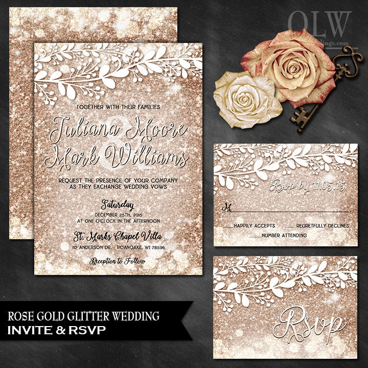 Rose gold wedding invitation rsvp card rose gold wedding for Rose gold winter wedding invitations