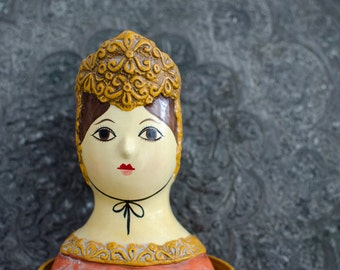 Vintage Hand Painted Paper Maché Girl Lipstick Holder