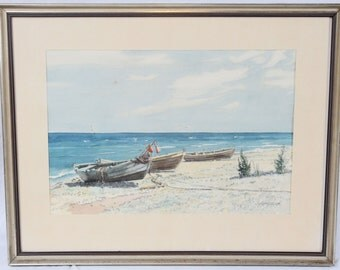 C.A. Krauss 14x20 Watercolor Painting Beach Scene Landscape Rowboats Fishing Boats Seagulls