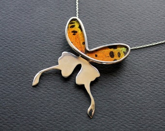 Real butterfly wing necklace. Sunset moth necklace. Butterfly wing pendant. silver butterfly necklace. insect jewelry