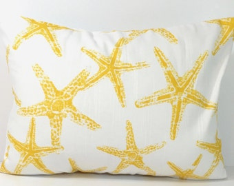 Yellow BEACH DECOR Sale, 12x16 inch Pillow Cover, Decorative Pillow, Throw Pillow, Pillows, Yellow Starfish, Pillow Cover,  Cushion Cover,