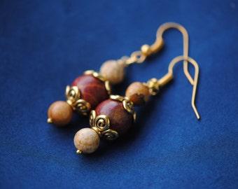 Gold Jasper Earrings | Brown Tan Earrings | Gemstone Ear Cuff | Mahogany Earrings | Mookite Jasper | Jasper Ear Cuffs | Brown and Gold