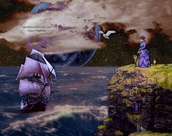 Surreal Artwork - Summoning the Quest - Dreamy Figure Cloudy Full Moon Ship Seascape - Original Color Conceptual Photography
