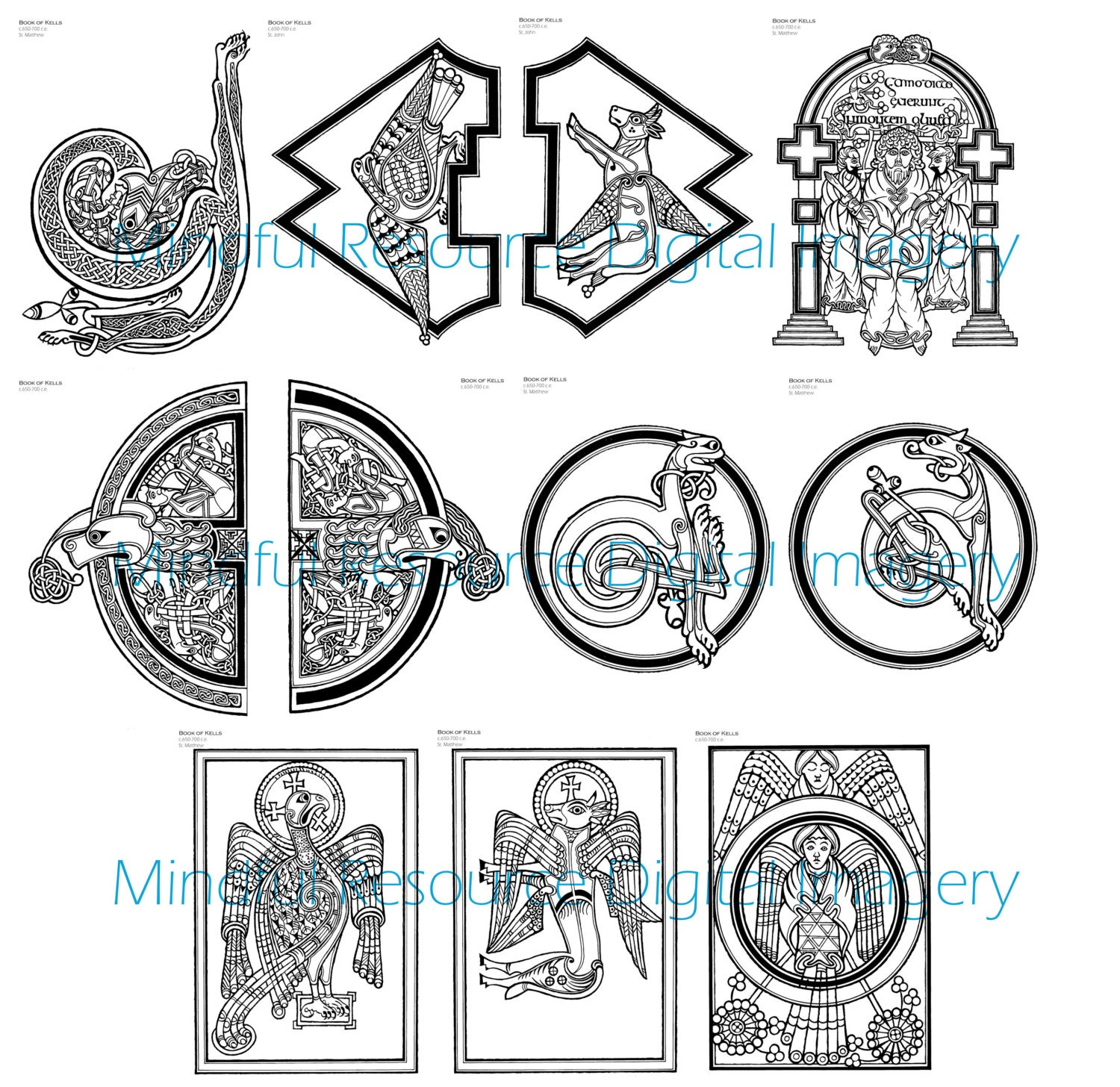 Digital celtic designs coloring page book of kells printable for Book of kells coloring pages